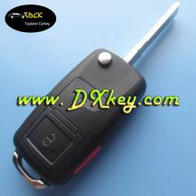 Best price 2+panic button flip remote key blank for vw remote key vw key blank car key casing