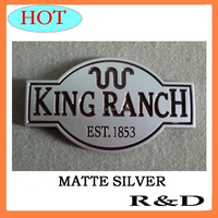 1PC Free Shipping Cost ABS Matte Silver King Ranch Emblem Badge Logo Sticker Decal For Ford