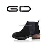 GD Natural black sheepskin leather low cut wood heel ankle boots for lady