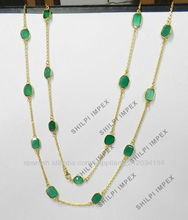 Verde ónix Bisel Fancy Configuración chapado en oro cobre amarillo del collar de cadena larga