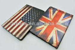 Folio Book Retro USA UK National Flag Case Leather Case Smart Cover for iPad Mini