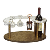 Hotel Supplies Leather Red Wine Rack with 4 Glass Holder, Bottle Display Rack for Bar Counter/Guest Room YJ-5A