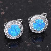 Тур классический дизайн & розничной синий огненный опал 925 серебро клип серьги fashionl опал украшения * oe162