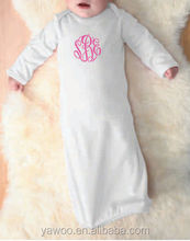Newest Design Monogrammed Newborn White Baby Night Gown Baby Long Sleeve Blank Gown