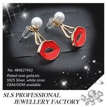 2015 latest selling pearl earring for women with a red lip eardrop earring stud enamel material lip earring