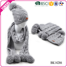 BSCI Approval new fashion style chunky knit scarf,crochet knit scarf patterns,acrylic knit scarf and hat
