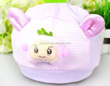 Korean design fetal cap, double layer new born baby cap for spring, cotton baby cap