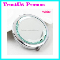 70mm Round Crystal Compact Mirror with Logo/Custom Made Pocket Mirrors/Engraved Hand Mirror