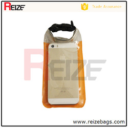 Outdoor Nylon portable transparent Waterproof mobile bag/cell phone bag