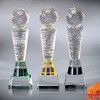 nice colored crystal sports trophy with golf ball