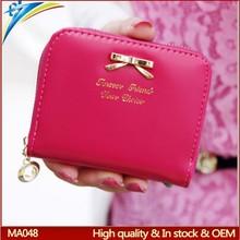 2015 Summer style Fashion new bolsa feminina coin purses coin bags with zipper around bowknot type