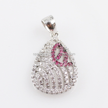 High Selling Rate Two Color Micropave Setting Jewelry Pendant, Fashion CZ Charm