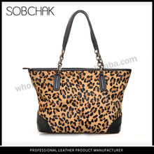 Leopord print genuine cowhide leather good designed stylish tote handbag