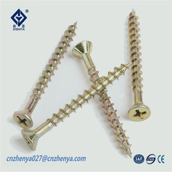 CE Certificate chipboard screw countersunk ribbed head phillips drive zinc yellow plated