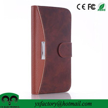 new and unique products brown credit card wallet cell phone flip case pu leather case for Samsung Galaxy S6