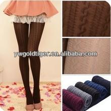 Get BSCI Certification HUE Fancy Hot Fashion Winter Velvet Cotton Thick Vertical Stripe Twist Women Knitting Tights