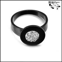 Wholesale black plated fashion engagement rings new york with lots crystals in center