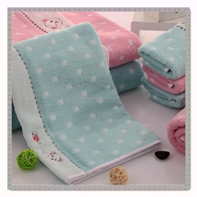 full cotton embroidery dog with jacquard small square children face towel
