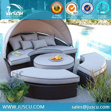 PE Rattan Outdoor Furniture Sets Wicker Round Sun Bed 2012