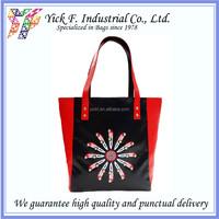 Fashionable Car & Knife Flower printing Women PU Leather Tote Bag