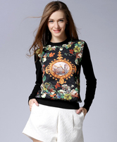 2015 autumn winters Knitting Europe and the United States of big shop sign Digital printing sets loose round collar