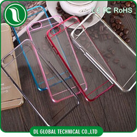 2015 hot products design cases for iphone 6 case crystal clear pc case with electroplate bumper