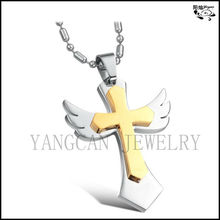 Ladies mens stainless steel two layered angel wings gold plated cross pendant necklace