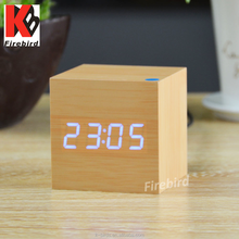 Wholesale cheap items to sell cube wooden small digital clock witn date and temperature