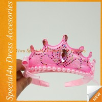 Wholesale cheap plastic party kids princess artificial flower crown party tiara crowns happy birthday tiara crowns CLHX-036