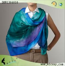 Graduated Blue and Green Color Silk Chiffon Shawl