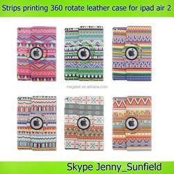 Super slim strips printing 360 rotating case for ipad air 2 , for ipad air 2 rotating case