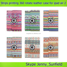 Super slim strips printing 360 rotating case for ipad air 2 , for ipad air 2 rotating case