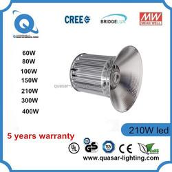 UL Listed IP65 waterproof 200w 45mil bridgelux hanging led highbay light