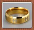 Casal gay masculino símbolos em aço ouro ip anel- orgulho gay a promessa de anel ou aliança de casamento