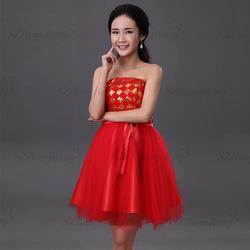 LF012 sweet latest designed sequined flower appliqued evening dresses