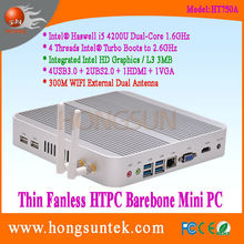 HT750A Intel Haswell i5-4200U 1.60GHz Dual Core with 4 Threads Intel Turbo Boot CPU Fanless Barebone Mini PC