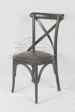 Hot Sale and High Grade Bistro Solid Wood Rattan Seat X Cross Back Dining Chair