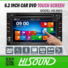 Cheap 6.2'' touch screen gps car stereo 2 din with bluetooth/1080p