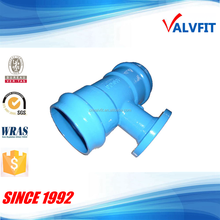 Ductile iron socket tee with flange branch for PVC pipe