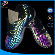 Rainbow glow in the dark reflective pu synthetic leather for shoes