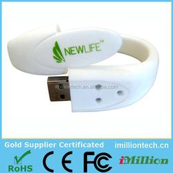 Customized Bracelet PVC USB Flash Drive, Waterproof USB Wristband, Silicon Band USB