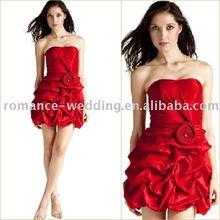 Ro0197 Red Hotsale Gathers Taffeta Short Cocktail Dress