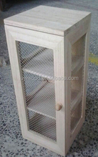 wooden storage cabinet with wire entanglement