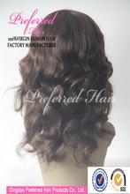 Popular 4#/12# highlight color super wave 12'' Kosher wig, Virgin European human hair jewish wig for White woman