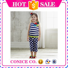 2015 fashionable royal blue flower top children clothes outfit with polka dots pants for baby girls