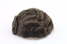 factory price indian remy hair curly natural looking invisible injected Super Thin Skin PU toupee