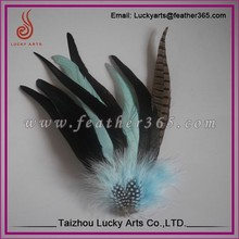 Lucky Arts Fashion flower party corsage feather headwear by hand