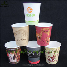 Wholesale custom printed paper coffee cups with lids logo