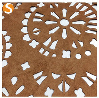 100 polyester national pattern laser cut Faux Fur Suede fabric