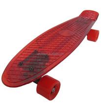 transparent fish shape penny plastic skateboard with 4 PU wheels